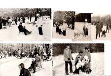 Konvolut 6x altes orig. s/w Foto Winter Schnee Rodeln Schlitten 1974 Vintage