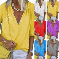Womens V Neck Long Sleeve Shirt Ladies Loose Casual Polka Dot Tops Blouse Plus