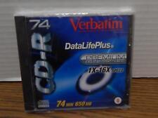 ONE Verbatim CD-R 74 650 MB 1–16X Speed 74 Min Disc w/Jewel Case FACTORY SEALED