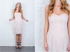 Vintage 80s Pink Floral Lace Dress Peplum Tiered Sweetheart Party Cocktail XS
