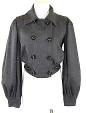 Dolce & Gabbana D&G Charcoal Gray Soft  Balloon Sleeve Jacket  36 0 2 XS $1285