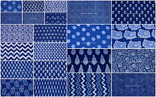 50 Yard Wholesale Lot Block Print Indian Cotton Indigo Blue Fabric Sewing Dress