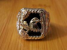 Large Black hills gold onyx sterling silver eagle ring sz10.75