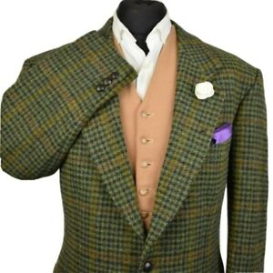 Harris Tweed Tailored Country Houndstooth Blazer Jacket 44S #982 IMMACULATE