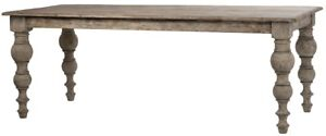 """84"""" L Carolina Dining Table Recycled Pine Turned Bulbous Legs Antique Distress"""