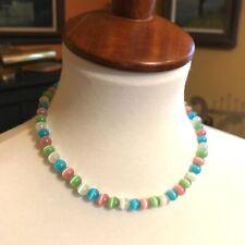 "15"" Cat Eye Necklace Pink Blue Green White Pastels Choker"