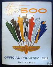 INDIANAPOLIS 500 OFFICIAL PROGRAMME PROGRAM 1962 RACE