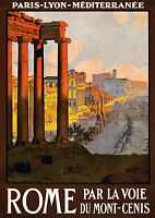 ROME 1920 Vintage Italian Travel Poster CANVAS ART PRINT 24x32 in.