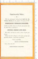 6351 Davis & Wentworth 1877 flier produce John L. Burton, Canton MA Boston