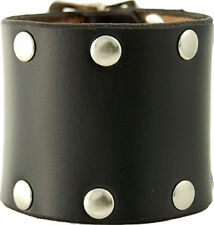 Black Wristband Cuff  - Double Buckle With Studs - Genuine Leather - Bk3305
