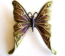 Butterfly Brooch Gold Plated Green Enamel Pin Fashion Jewelry Free Shipping New