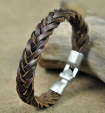 Mens Surfer Cool Braided Leather Wristband Bracelet Cuff Brown