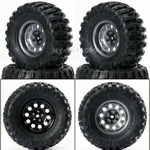 "4pcs 2.2""Metal Beadlock Wheel Rims Tires for SCX10 RR10 90053 AX10 RC Crawler"