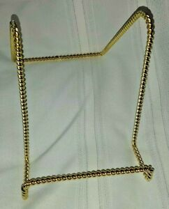 Gold Plate Stand Display Easel Rack Dish Holder Metal Twist Wire 7 inch