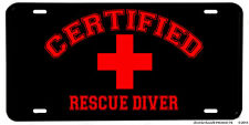 Certified Rescue Diver Red Cross Black & Red Aluminum License Plate