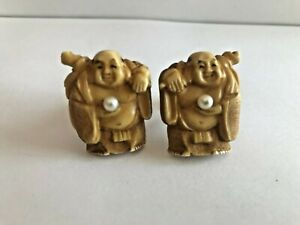ANTIQUE BUDDHA CARVED RESIN HOLDING BEAUTIFUL PEARL CUFFLINKS JAPANESE CHINESE