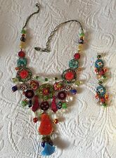 Ayala Bar Necklace in red green Blue Pink + Earrings gorgeous mosaic colors