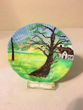 "Original Hand Painted Natural Scalloped Seashell Art Tree By Country House 5""x5"""