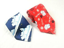 2x Coca-Cola Brand Men's Neck Ties Polar Bears Red and Blue Christmas Holiday