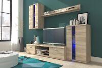 Living Room Furniture Glass Set Tv Unit Stand Display Cabinet Shelf sonoma oak