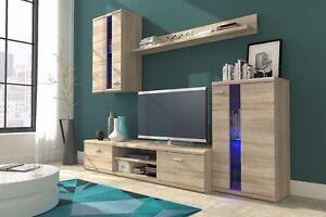 LIVING ROOM SET WHITE MATT SONOMA OAK LED TV CABINET DISPLAY UNIT SHELF CUPBOARD