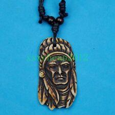 Brown Emirate Head Pendant Yak Bone Amulet Necklace Gift RH102