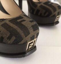 Authentic Fendi Logo Heels - Size 35 With Box