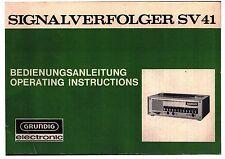 Grundig Bedienungsanleitung instructions for use für SV 41 mit Schaltplan