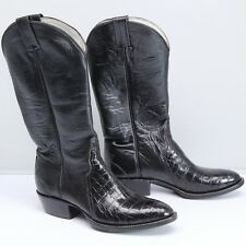 NWOB Remington Boot Company Womens Cowboy Boots Black Leather Crocodile Vamp