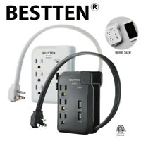 BESTTEN 3-Outlet 2 USB Port Wall Power Strip Surge Protector 15A/125V/1875W