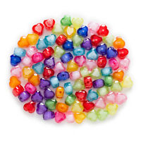 Random Mixed Heart Shaped Acrylic Spacer Beads Findings Jewelry Making 8-14mm