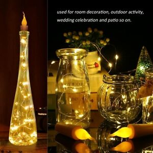 5 x Flame Candle Wine Bottle Fairy String Light for Wedding Party Decor 10/20led