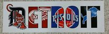 LIMITED EDITION DETROIT PRO TEAMS LOGO POSTER 10X32 WINGS TIGERS LIONS PISTONS