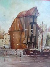 schönes, altes Gemälde__am Hafen__signiert__1959__Kranentor in Danzig  !
