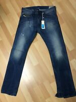 NWD Mens Diesel THAVAR DISTRESS HARD DENIM 0663E Blue Slim W30 L30 H6.5