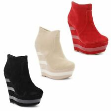 Faux Suede Zip Wedge Casual Boots for Women