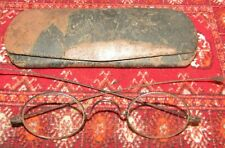 """Antique Metal Childs Eyeglasses In Old Metal Case-Late 1800'S- 3 1/2"""" Wide."""