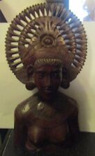"""Vintage Bali Carved Wooden Indonesian Figure 9 1/2 """" Tall Great Detail"""