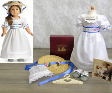NEW American Girl Doll FELICITY SUMMER OUTFIT Tea Gown Sash Hat Shoes Cap BOX!