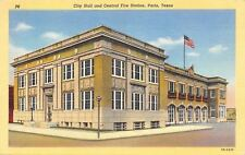 Paris Texas~City Hall And Central Fire Station~1943 Linen Postcard