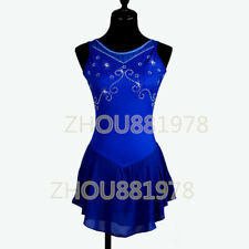 New Ice Figure Skating Dress Figure skaitng Dress For Competition Bule handmade