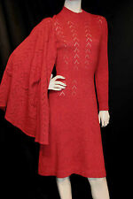 S 2pc Red Tweed Wool Vtg 70s Banff Gianni  Ferri Knit Sweater Dress Cardigan SET