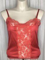 Vintage Bestform 36 Red Antron III Nylon Lace Camisole Adjustable Straps