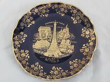 Limoges France Decorative Plate Souvenir De Paris Cobalt Blue