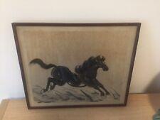 More details for vintage original chinese galloping horse art framed old antique art