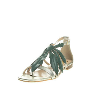 RRP €150 BP ZONE Leather Thong Sandals Size 39 UK 8 US 11 Metallic Cut Out Leaf