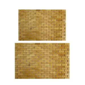 Teak Wood Bath Mat Feet Shower Floor Natural Bamboo Non Slip Large L9W5