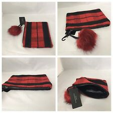 Zara Red/Black Clutch Zipped Bag With Pom Pom