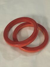 Set of Two Pink Coral Wood Bangle Bracelets Excellent Condition