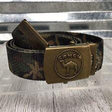 Vintage Camel Logo Brass Buckle Camouflage Belt Brown Green Size Large Made USA